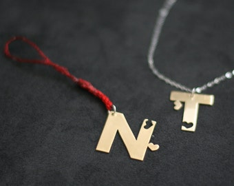 Connecting Couple's Initials & Hearts Keychains