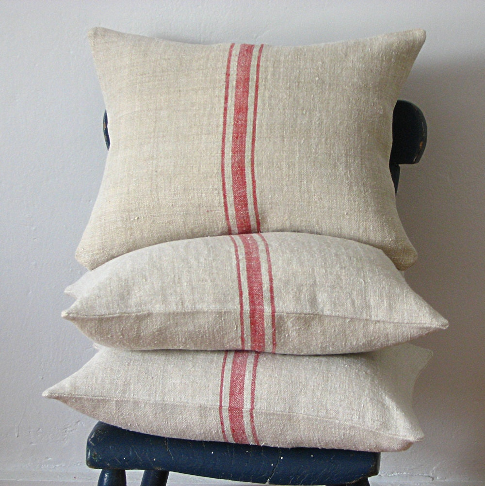 Vintage Pillows: Vintage Grainsack Pillow Triple Red Stripe