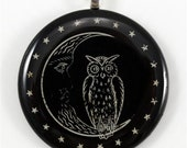 SALE - ca. 1910 Owl on the moon antique clay gambling chip pendant