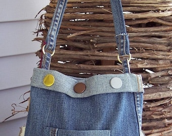 Upcycled Denim Bag, Recycled Jeans with Rug Hooked Flower