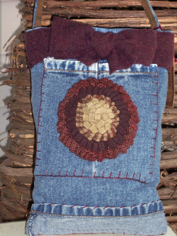 Upcycled Denim Bag- Recycled Jeans with Rug Hooked Flower