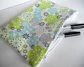 Medium Sized Waterproof Zipper Pouch- Cherry Blossoms in Lime