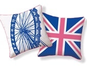 London, UK, London Eye, Millennium Wheel/Union Jack Pillow