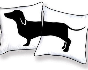 Amusing Black & White Dachshund Pillow from Happy Hot Dog Collection