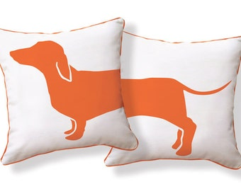Amusing Dachshund Doxie pillow from Happy Hot Dog Collection / Orange & White
