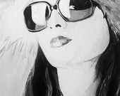 High Fashion- 9x12 original acrylic painting on stretched canvas, pinup, high fashion, black and white, sunglasses, gucci, prada, artwork by fauxtograph