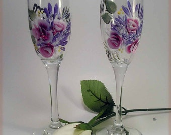 Hand Painted Pink Roses and Daisy Toasting Flutes