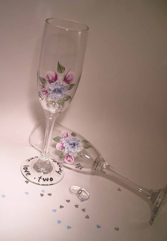 Roses and Carnation Toasting Flutes Hand Painted