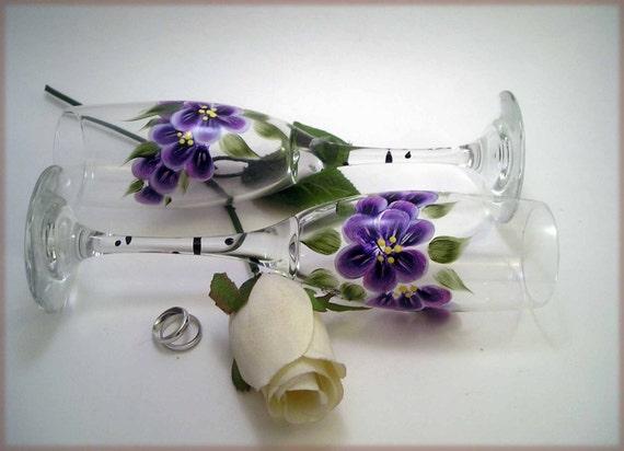 Hand Painted Purple Violet Toasting Flutes