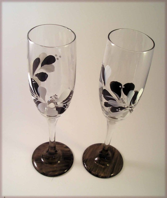 Hand Painted Black and White Toasting Flutes