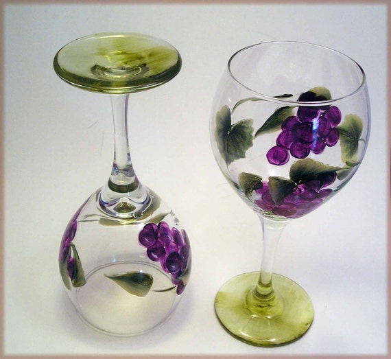 Grapes Wine Glass Painted