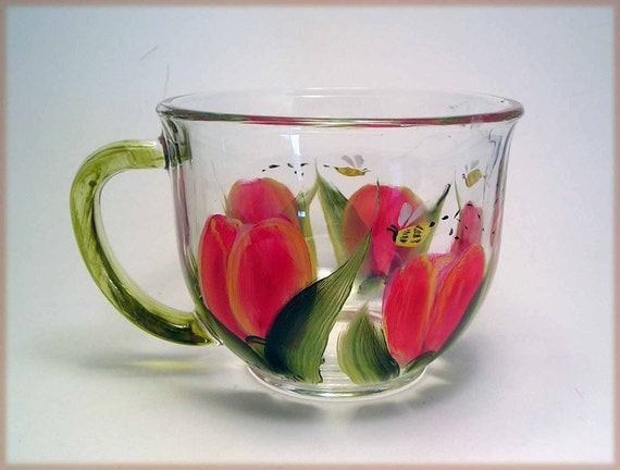 Tulips Tea Cup Painted
