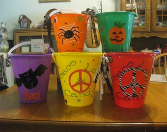 Personalized Halloween Pails- Many designs available