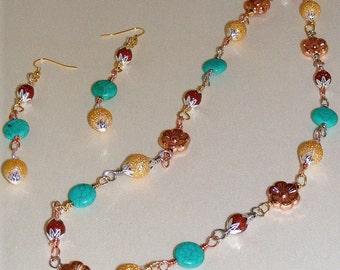 Multi color Wire Wrapped Turquoise Bead Necklace with Earrings