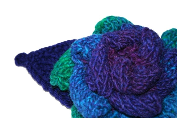 OOAK Large Knitted Brooch Corsage in Purple, Blue and Green