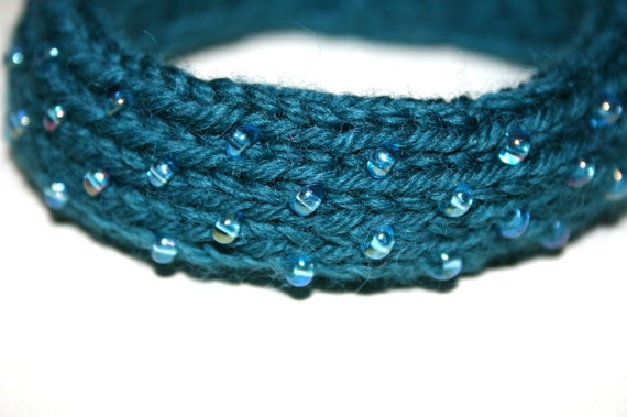 Wide Dew Drop Bangle in Teal - Large