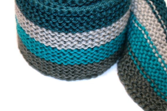 Hand Knitted Skinny Scarf in Evergreen, Silver Blue, Glacier Teal, and Silver Green