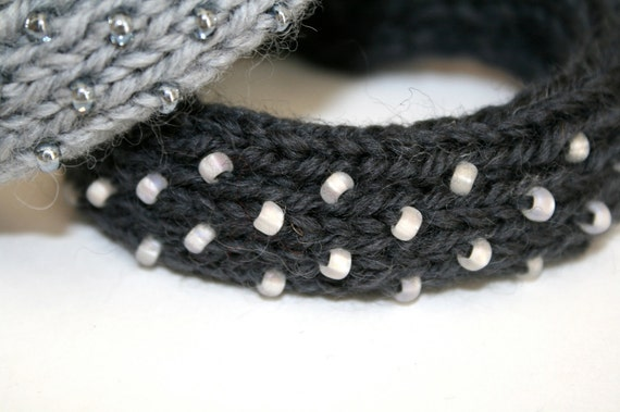 RESERVED for Donna - The Driven Snow Knitted Bangle Bracelet in Charcoal Gray - Medium