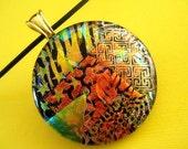Extra Large Round Gold Orange Fused Dichroic Glass Pendant