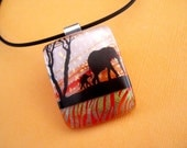 Starry Sky Elephants Fused Dichroic Glass Pendant Necklace