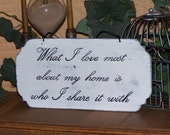Wood Home Decor Signage, Hand Inked Calligraphy, Traditional, What I Love Most Quote, Wall Hanging Plaque, Home and Living