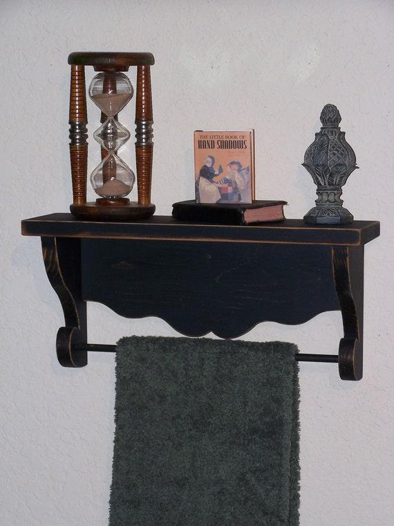 Wood Shelf, Towel Holder, Wall Decor, Shabby Chic Country Cottage, Primitive Farmhouse, Black, Home Decor