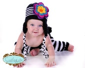 Ear Flap Beanie with Flower - Black, White, Yellow, Turquoise, Hot Pink, Grape, Bright Orange