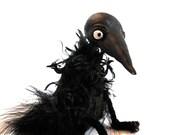 black crow bird seasonal halloween bjd prop black bird feathers