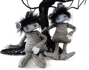 Adele Goth girl bjd prop art doll accesory halloween gift