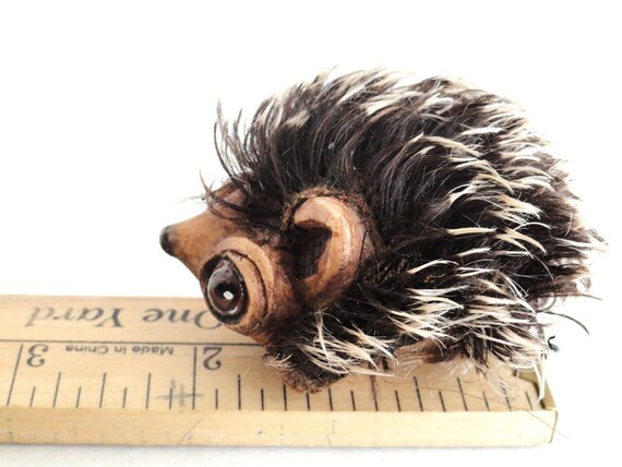 German mohair and resin Hedgehog nursery kids room decor