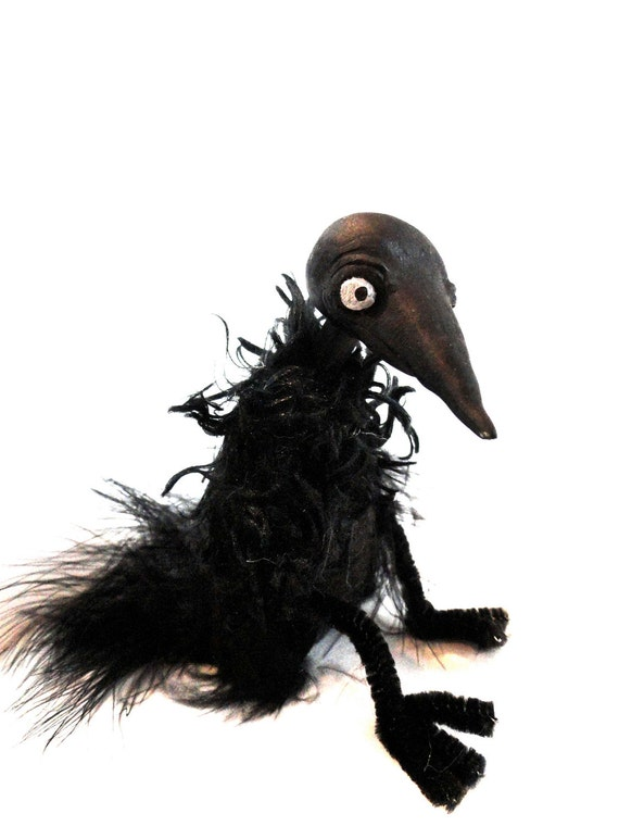 black crow bird seasonal halloween bjd prop black bird feathers