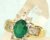 Emerald and Diamonds Rhinestone Ring