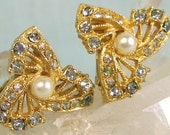 Rhinestone and Pearl Clip on Earrings