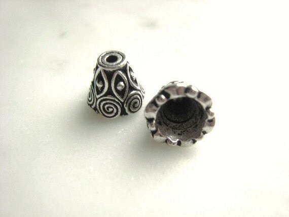 9mm Antique Silver Designed Cone Parcel of One Pair Item No. 1308
