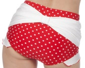 Shirley Bow Back with Ruffles Retro High Waisted Swim Bottom in Red/White (XS-XL)