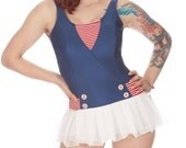Hazel Onepiece Sheer-Skirted Olde Time Navy Pin Up Swimsuit (XL,2X)