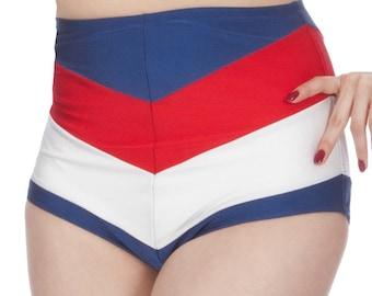 Amelia High Waisted Chevron Stripe Bikini Bottom in Red, White & Blue