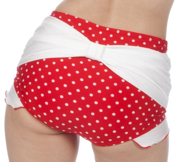 Shirley Bow Back with Ruffles Retro High Waisted Swim Bottom in Red/White XS and S only!!