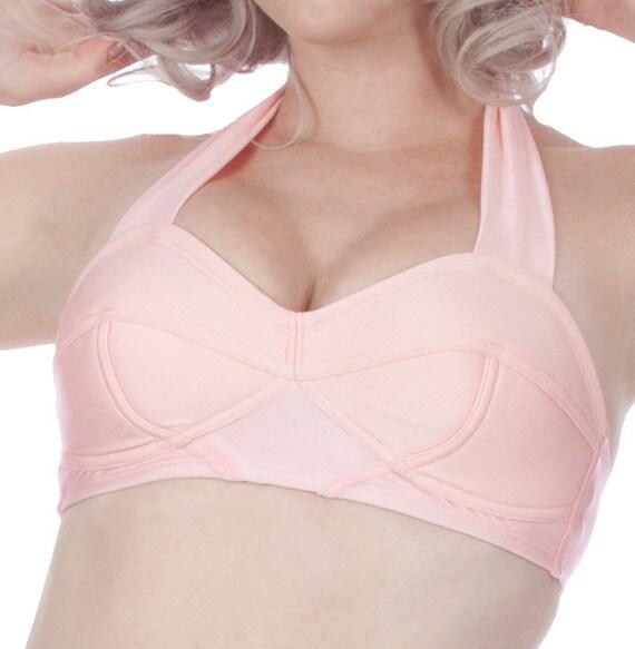 Lola Vintage Inspired Halter Strap Bullet Shaped Swim Bra in Pink