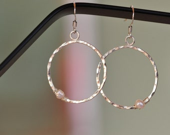 Bold Hammerd Silver Circle Earrings with Single Pearl off side, textured and hammered, Classic Timeless Charm, made in USA