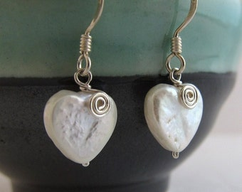 Valentine's Day Sweet HEART Mother of Pearl Sterling Silver Earrings Delicate Classic Organic Dangle Sparkle jewelry