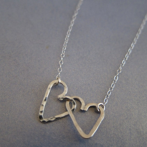 Valentines Day Love Locked Double Heart Charm Sterling Silver Necklace, best friend gift, sister, mother and child, hammered and textured