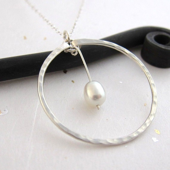 Sterling Silver Big Circle Pendant with White Pearl in Center, hammered and textured, classic design