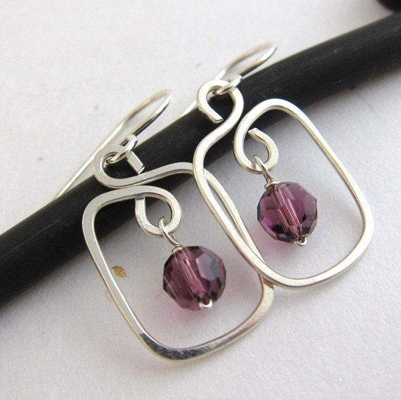 Circle and Rectangle Sterling Silver Earrings, swarovski crystal amethyst birthstone, customized, gift for her