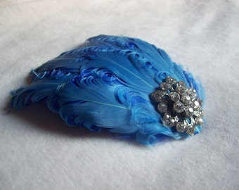New handmade 1920s inspired blue feather fascinator