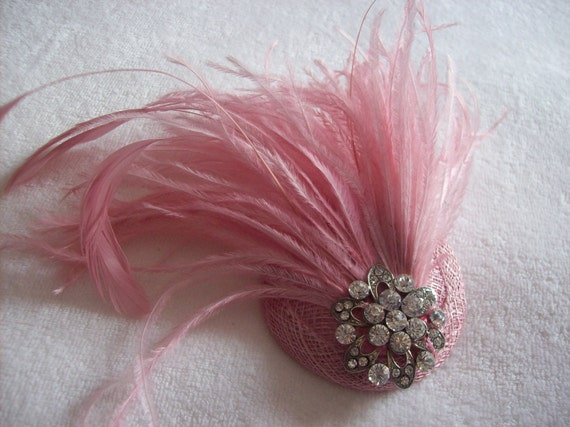 New handmade 1920s inspired pink feather fascinator