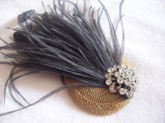 New handmade 1920s inspired bronze and dark grey feather fascinator