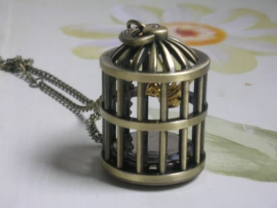 Long antiqued bird cage brass working pocket watch clock necklace