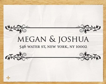 "Custom Personalized Eco Friendly Self Inking Address Stamp Wedding Gift , Return Address, Etsy Shop Labels ""Ornamental Border2"""