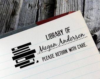 """CUSTOM LIBRARY self inking stamp, personalized Eco Friendly Self Inking Stamp Library, book worm, Holiday Gifts, Etsy Shop Label """"Library1"""""""